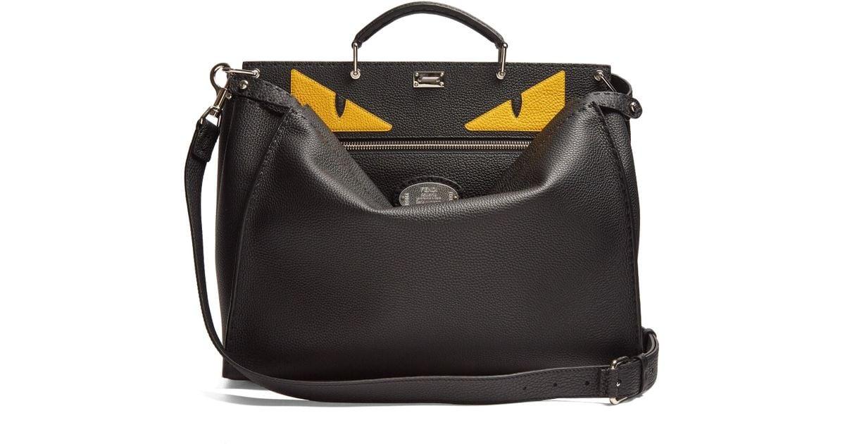 8daa7b49205e Lyst - Fendi Peekaboo Bag Bugs-appliqué Leather Bag in Black for Men