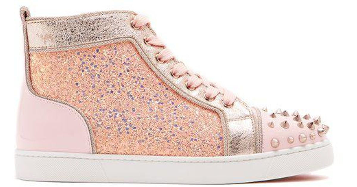5a11b0c11903 Christian Louboutin Lou Degra Embellished Leather High-top Trainers in Pink  - Lyst