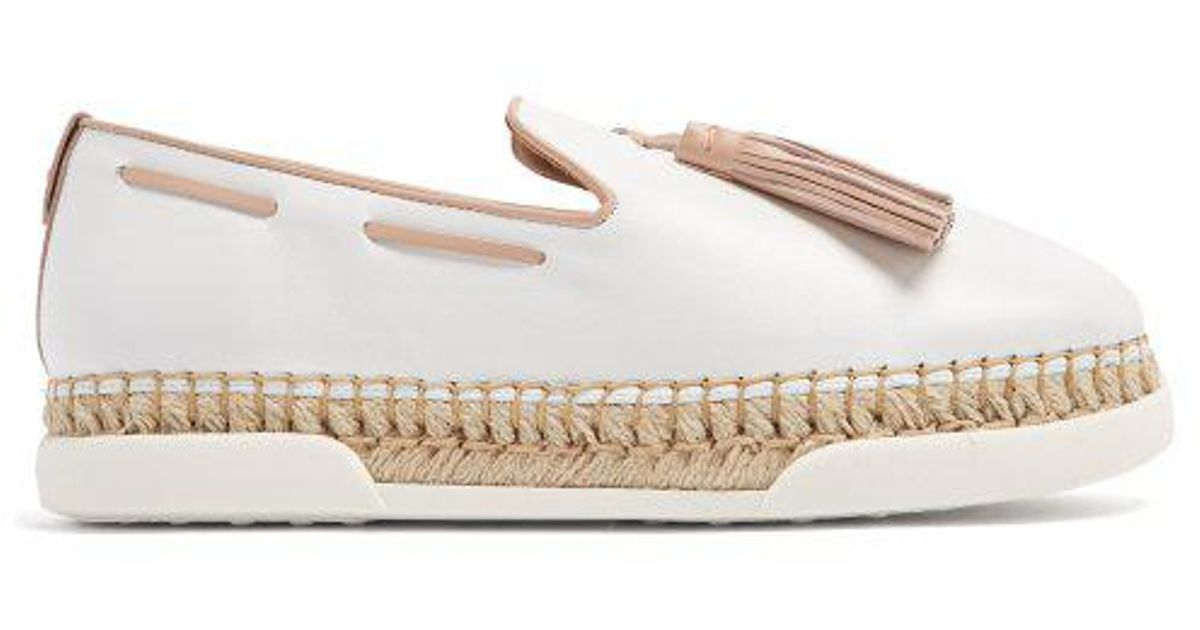 84dfa5260c0 Tod's - White Gomma Tassel-embellished Leather Espadrilles - Lyst
