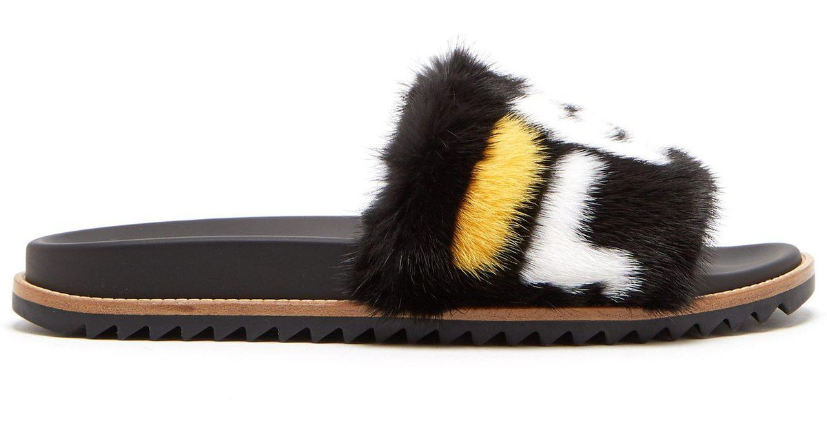 0e4ce54f9142d Lyst - Fendi Black Mania Fur Slides in Black for Men - Save 6%