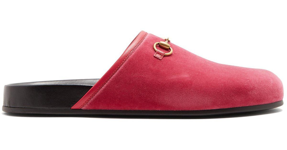 007f48f57b4 Lyst - Gucci New River Velvet Loafers in Pink