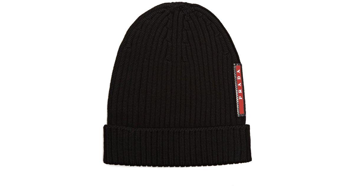Lyst - Prada Ribbed-knit Beanie Hat in Black for Men 17f893d29d7