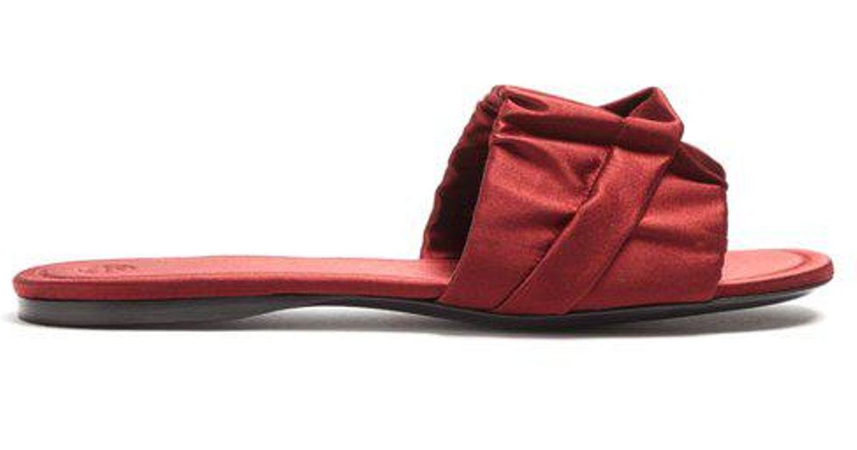 8802f8e50c9d The Row Ellen Satin Slides in Red - Lyst