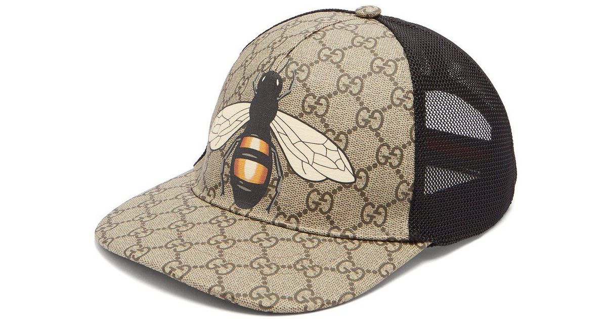 cedeb097555 Lyst - Gucci Gg And Bee Print Mesh Hat in Natural for Men