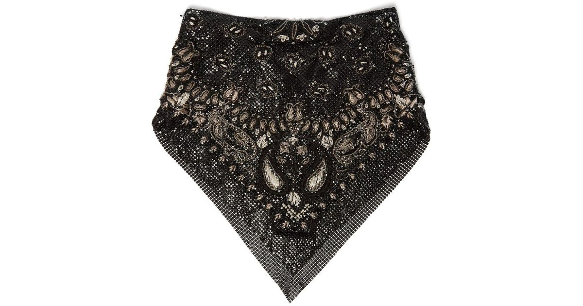 37152019fda Saint Laurent Embroidered Beaded Bandana in Black - Lyst