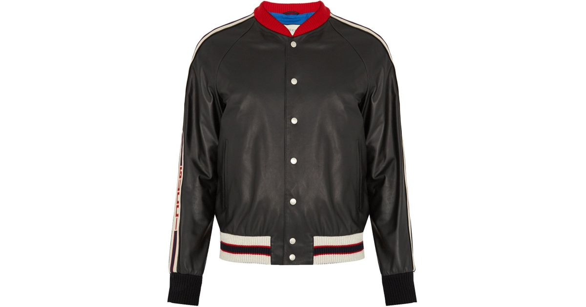 831f20e51712 Lyst - Gucci Hollywood Appliqué Leather Bomber Jacket in Black for Men