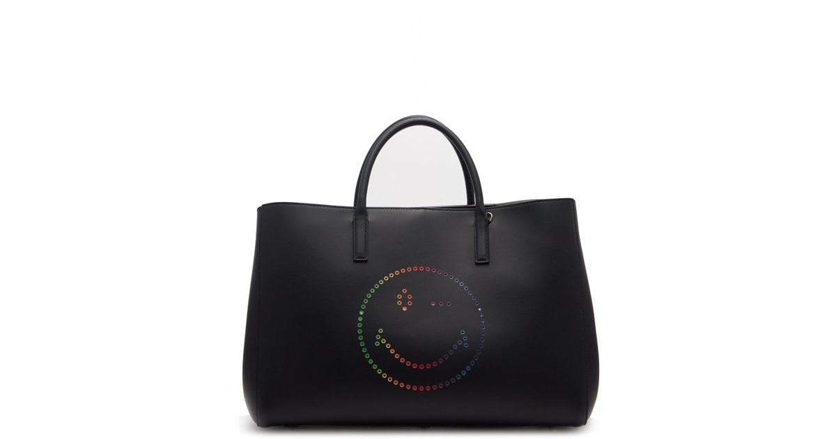 e7fd2c0f4 Anya Hindmarch Ebury Rainbow Wink Circus Leather Maxi Tote Bag in Black -  Lyst