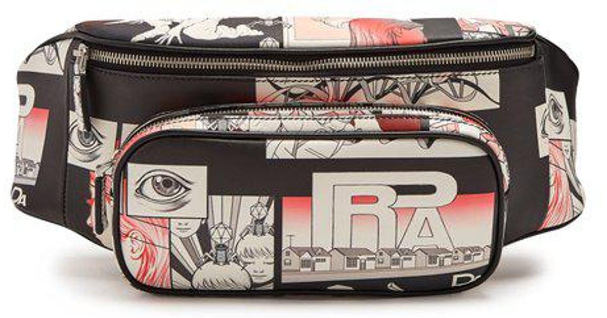 da1cf1abdb38 Prada Comic-strip Print Leather Belt Bag in Black for Men - Lyst