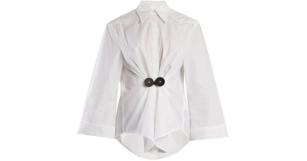 Lyst algodón con Mm6 cuero Martin blanco en de Margiela Camisa de By  adornos popelina de Maison qqzxr8wZ f7b901e4f3527