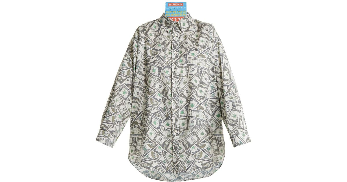 2f4ed3790122f3 Lyst - Balenciaga Patch-detail Dollar-print Woven Shirt