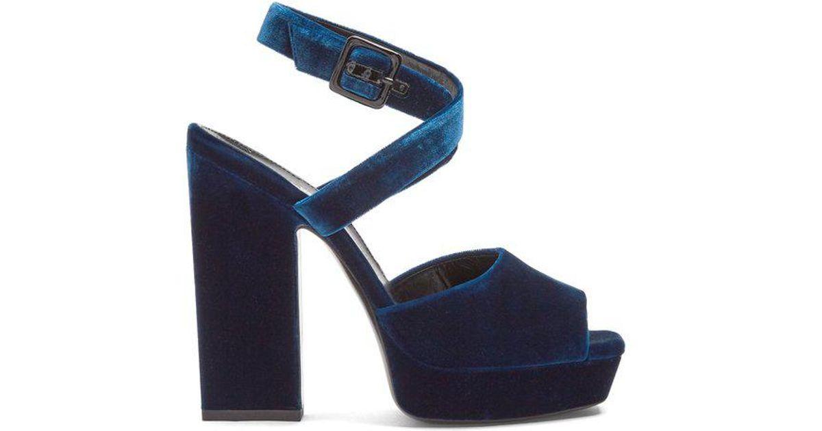 8087c5e5d25 Lyst - Saint Laurent Debbie Platform-heel Velvet Sandals in Blue