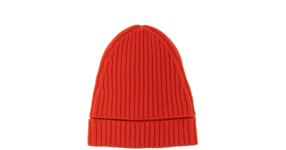 Lyst - Colville Ribbed Knit Merino Wool Beanie Hat in Orange 3585604912db