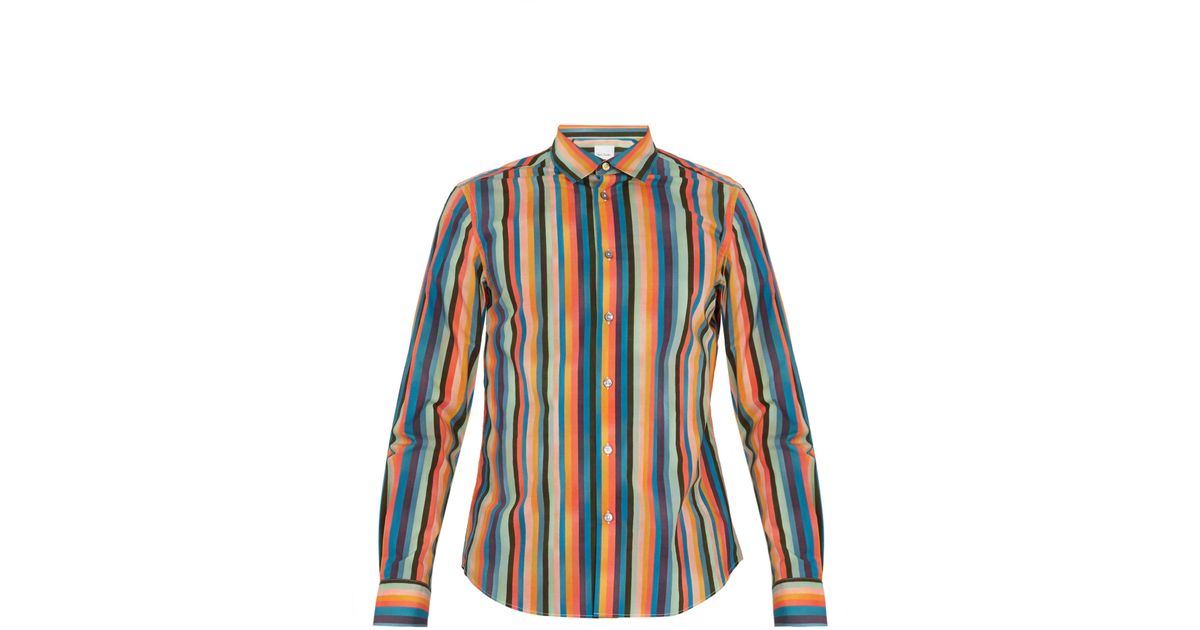 883be384 Paul Smith Artist Stripe-print Single-cuff Cotton Shirt in Blue for Men -  Lyst