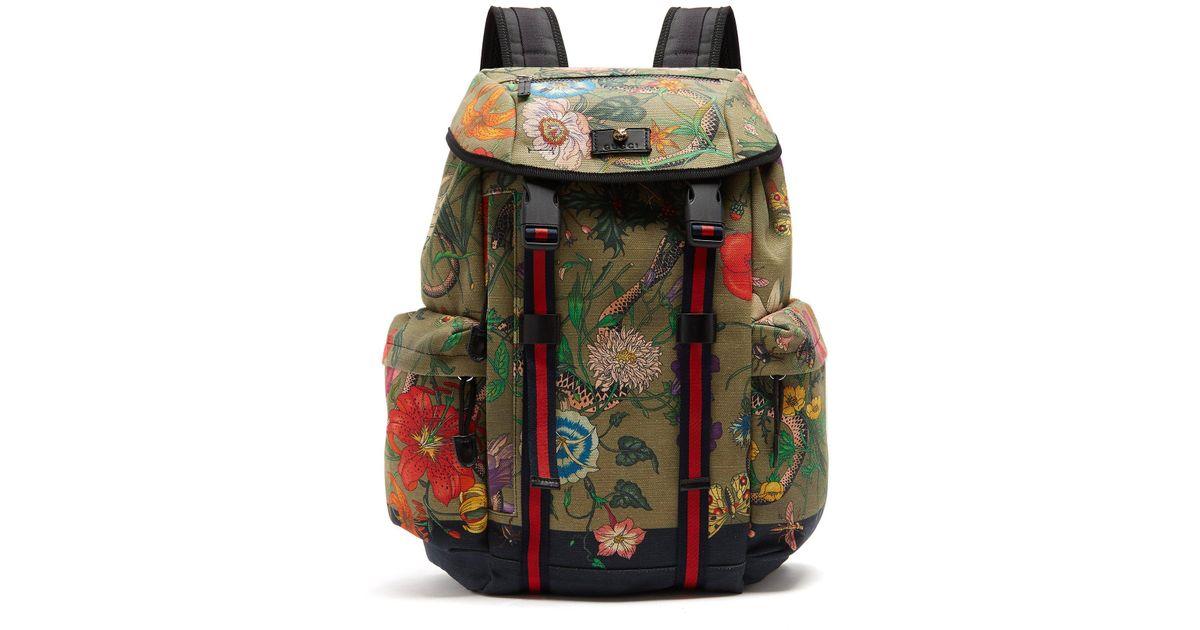 Lyst - Gucci Floral Snake Print Backpack for Men