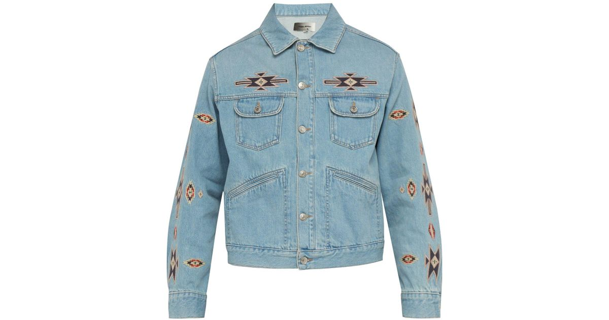 573d6abc8a8 Lyst - Isabel Marant Jango Embroidered Denim Jacket in Blue for Men