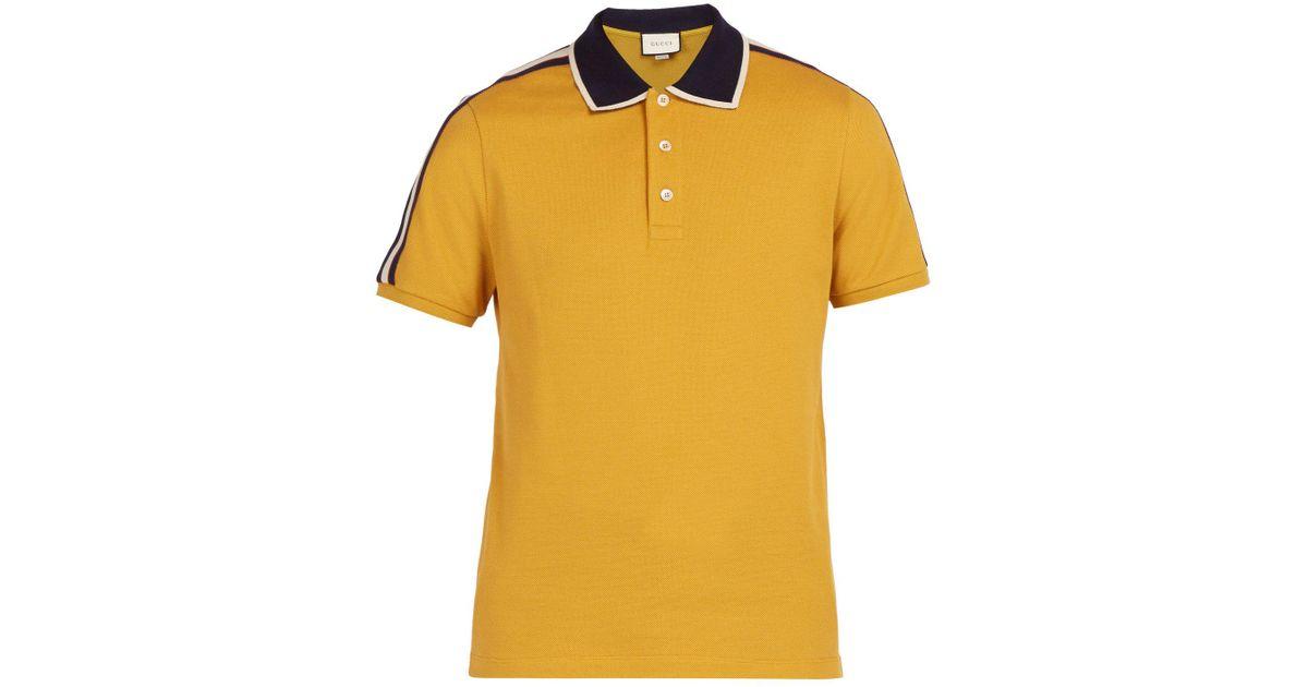 8464659ea9b Lyst - Gucci Logo Sleeve Cotton Blend Piqué Polo Shirt in Yellow for Men