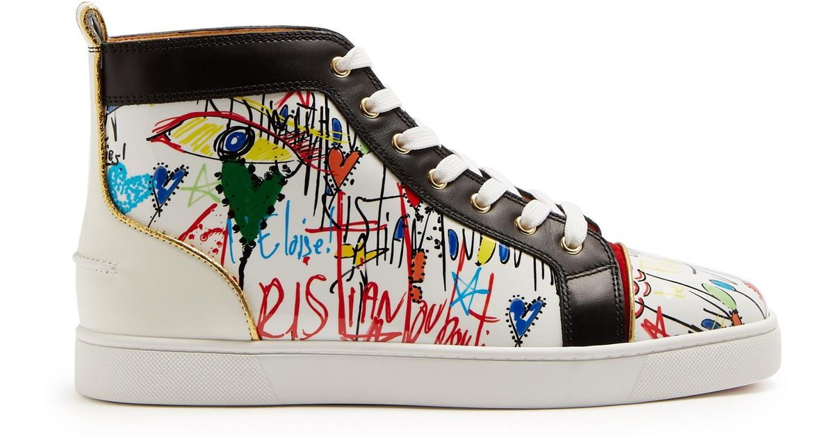 74242d019e3a Lyst - Christian Louboutin Louis High-top Loubi Tag-printed Leather Trainers  in White for Men
