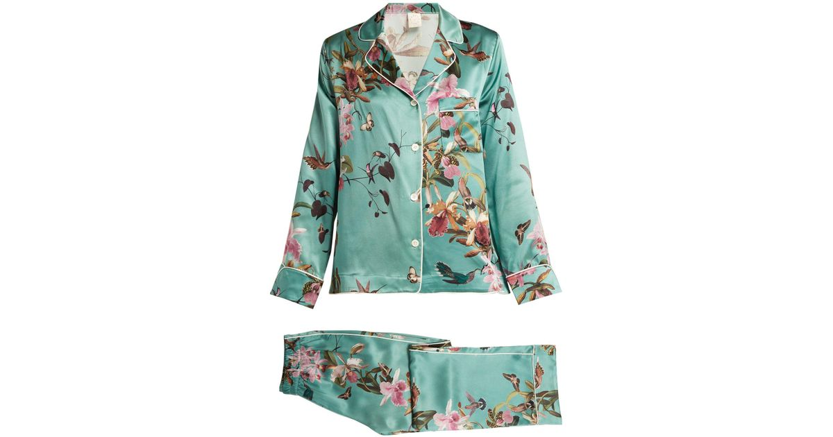 1a34189d29 Lyst - Morpho + Luna Colette Floral Print Silk Pyjamas in Blue