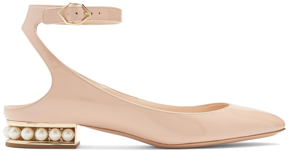 Valentino Pink Suede Lola Pearl Ballerina Flats
