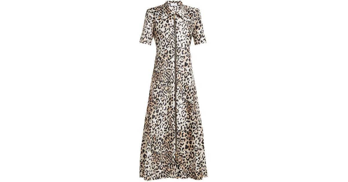 5d1d72cafa Lyst - Raey Zip Front Leopard Print Twill Dress