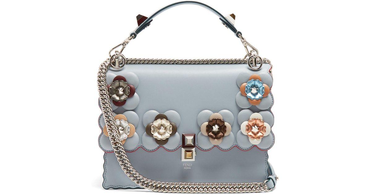 9d6d8d7919 Lyst - Fendi Kan I Flower-embellished Leather Shoulder Bag in Blue