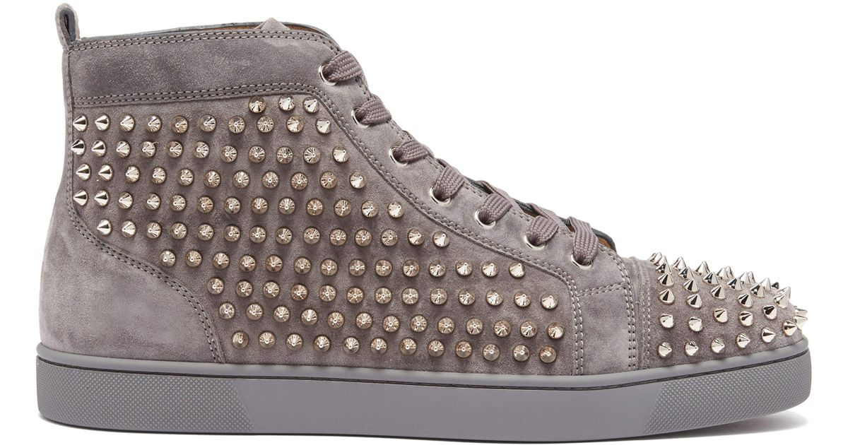 cae6688dc0ae Christian Louboutin Louis Spike Embellished High Top Trainers for Men - Lyst