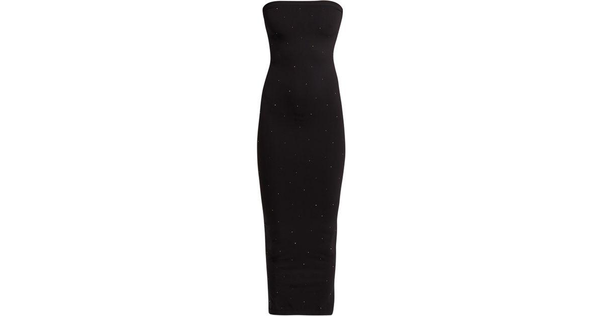 ef01fd2fcc Wolford Crystal Blaze Embellished Jersey Dress in Black - Lyst