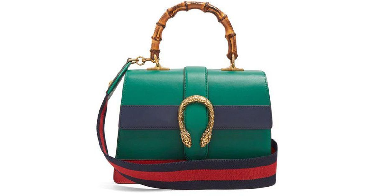 0484b28d7 Gucci Dionysus Medium Bamboo-handle Leather Bag in Green - Lyst