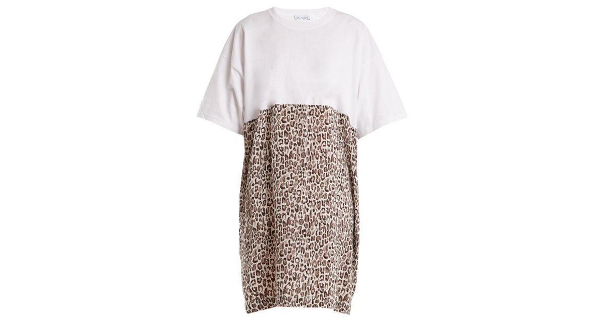 46ca014050 Lyst - Raey Cotton And Leopard-print Silk T-shirt Dress in Gray