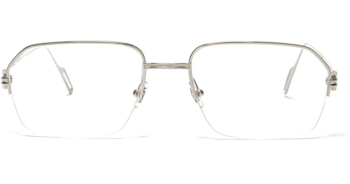 9007792fb5b Lyst - Cartier Première De Cartier Square Frame Metal Glasses in Metallic  for Men