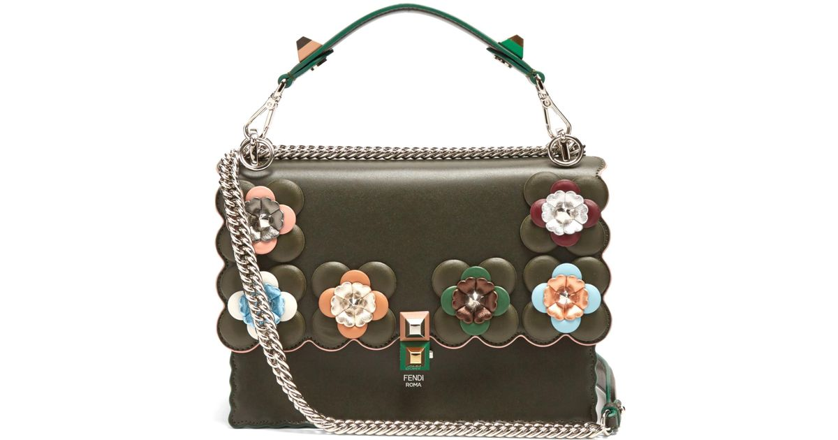 1377dadfd118 10a83 a9187 switzerland fendi kan i flower embellished leather shoulder bag  in green lyst 1a082 f5f3a ...