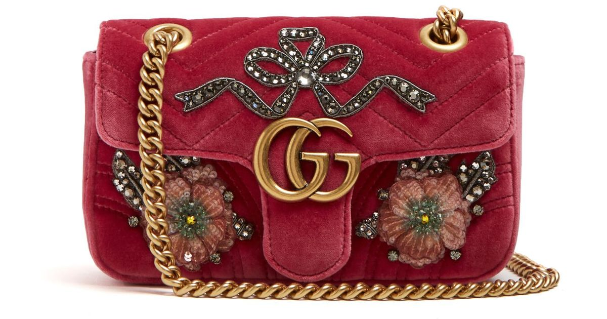 6524dabbbb172 Lyst - Gucci GG Marmont Mini Embellished Quilted-velvet Cross-body Bag in  Pink