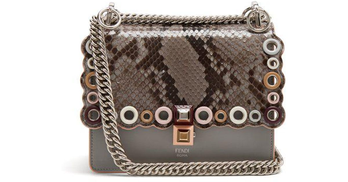 1e8c7d2a7fe5 ... coupon for fendi kan i small leather cross body bag lyst 24466 9daf4 ...