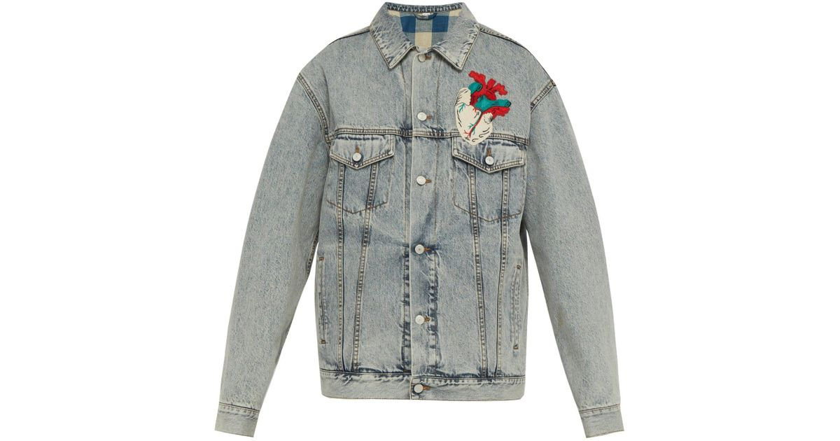 2b3d73ac1 Lyst - Gucci Heart Appliqué Oversized Denim Jacket in Blue for Men