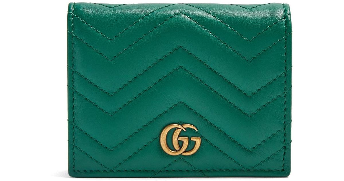 b575b9e96b10 Lyst - Gucci Gg Marmont Quilted-leather Wallet in Green