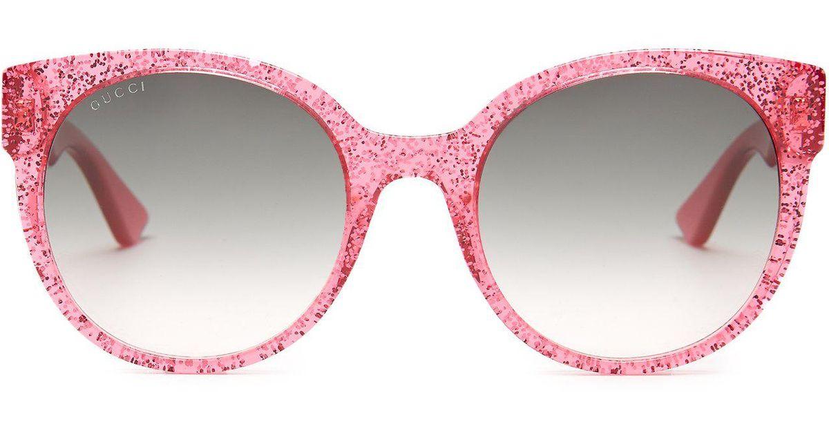 cdc744294e4 Lyst - Gucci Round Frame Glitter Acetate Sunglasses in Pink