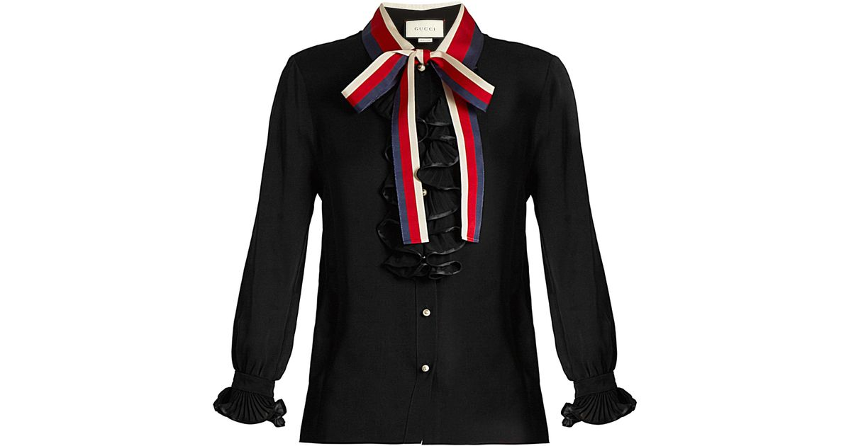 626a859f87efa7 Gucci Frill-trimmed Silk-georgette Blouse in Black - Lyst