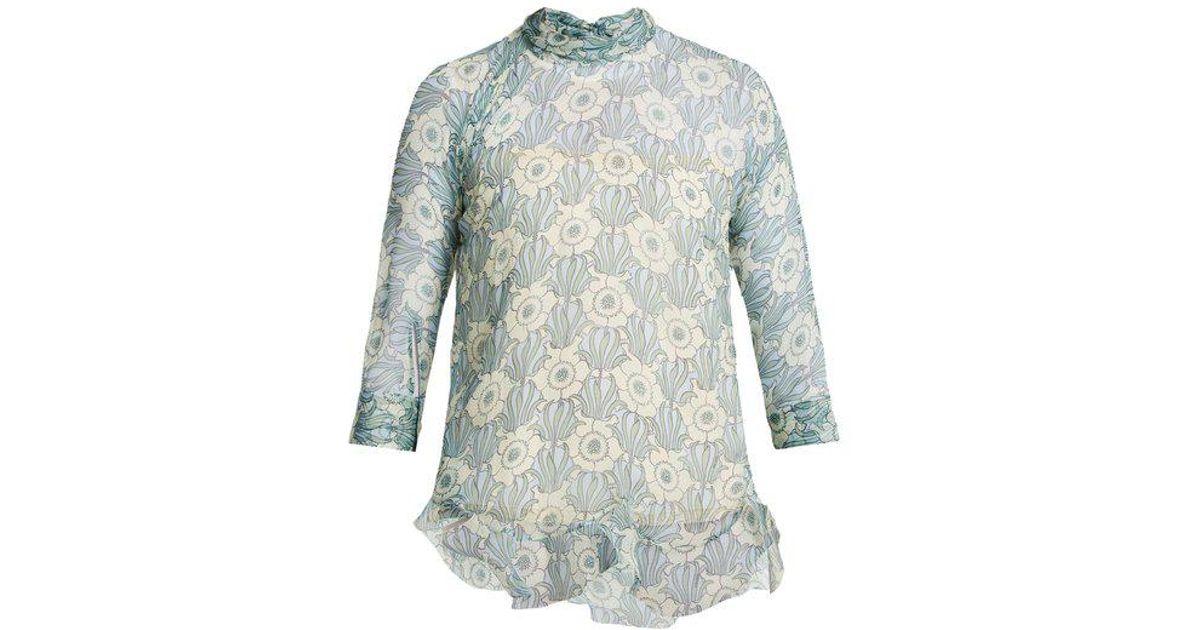 6fcd72bdded6dd Lyst - Prada High-neck Jasmine-print Silk-crepe Blouse in Blue