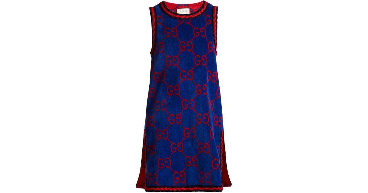 cf747130e9f Gucci Gg Jacquard Cotton Towelling Dress in Blue - Lyst