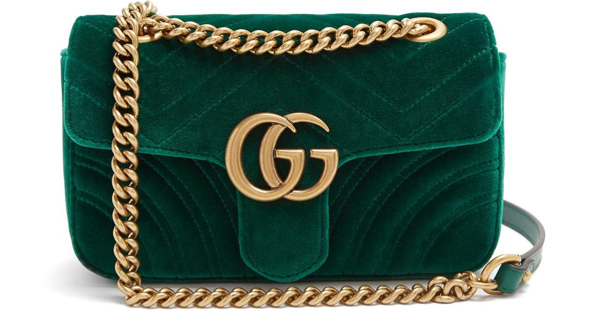 5c78e5121cc Lyst - Gucci Gg Marmont Mini Quilted-velvet Cross-body Bag in Green