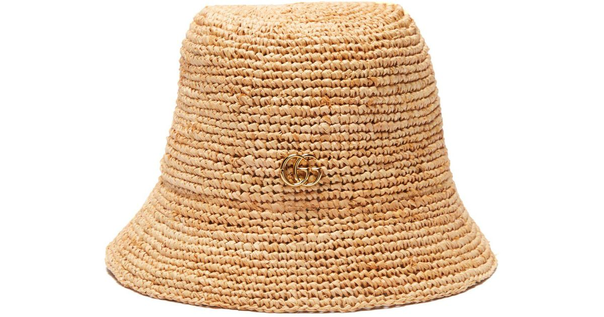 Lyst - Gucci Straw Bucket Hat in Natural e0dfc612ce1