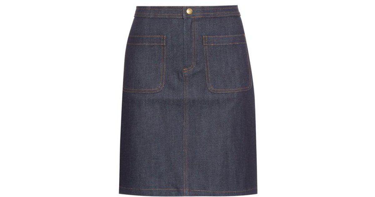 2634a98036 Lyst - A.P.C. Patch-pocket Denim Skirt in Blue