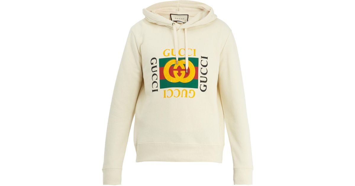 aebc307a9 Gucci Logo-print Cotton-jersey Hooded Sweatshirt for Men - Lyst