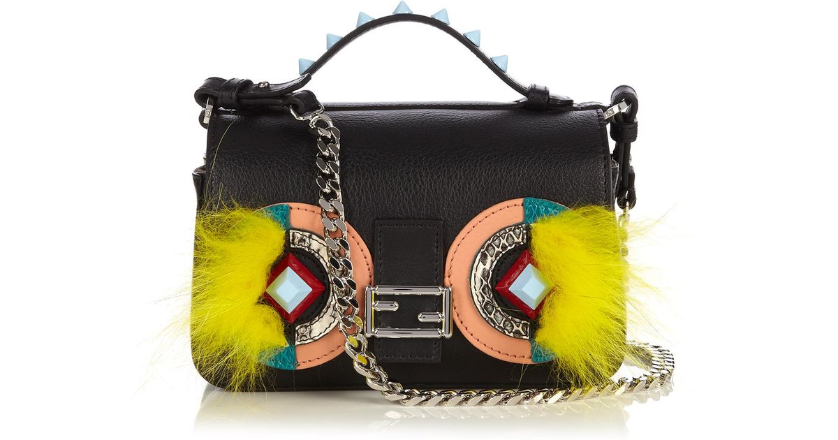 e58e5f28d7b0 Lyst - Fendi Double Micro Baguette Bag Bugs Cross-Body Bag