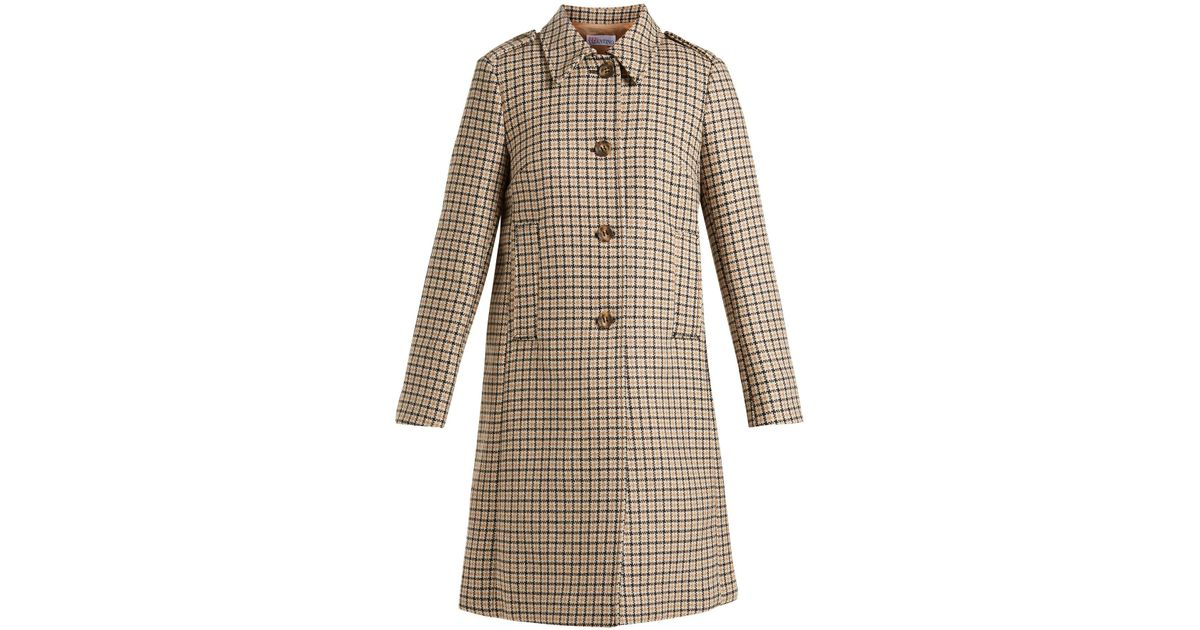 6671258f red-valentino-camel-Checked-Wool-Blend-Tweed-Coat.jpeg