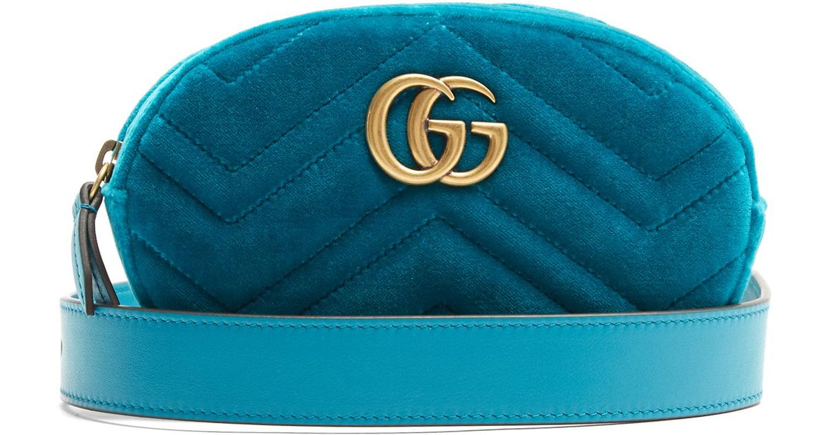 967c2472cd1 Lyst - Gucci Gg Marmont Quilted-velvet Belt Bag in Blue