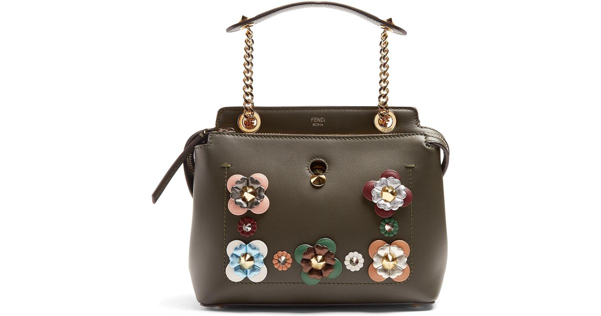 Fendi dotcom small flower appliqué leather bag in green lyst