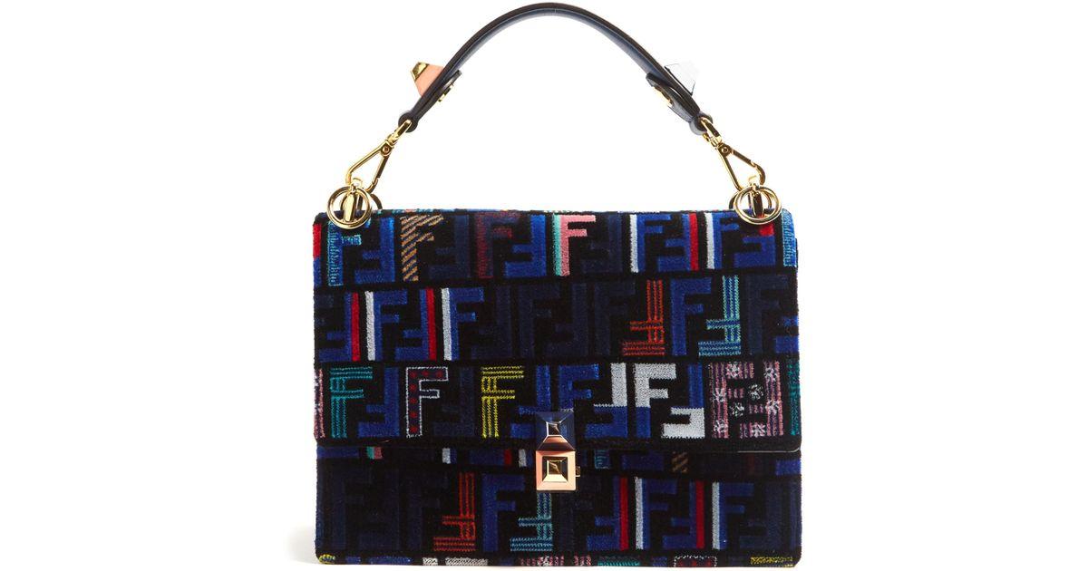 8293f6e0d5 Fendi Kan I Logo-print Velvet Shoulder Bag in Blue - Lyst