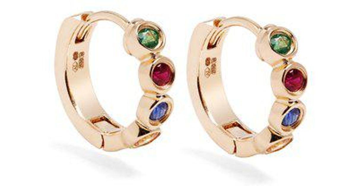 Alison Lou Sapphire, ruby, emerald & gold Twister earrings