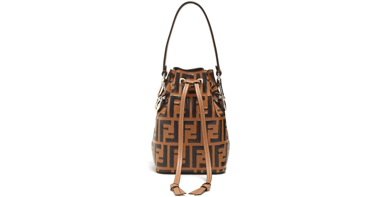 3234e1ed898d8 Lyst - Fendi My Treasure Logo-embossed Leather Bucket Bag in Brown